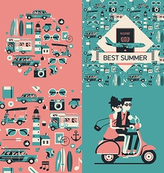 Retro summer wrapping paper vector
