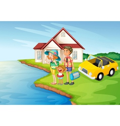a girl a boy and a car vector image vector image