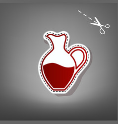 Amphora sign red icon with for applique vector