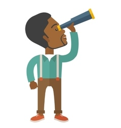 Black guy with telescope to see something up in vector