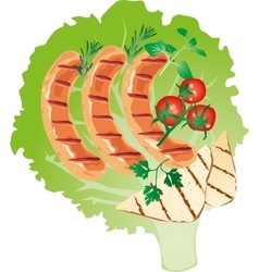 bright juicy grilled sausage on a lettuce leaf vector image vector image