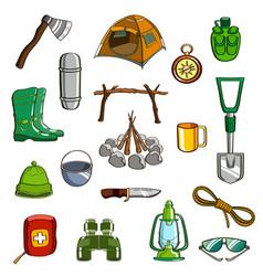Camping equipment set vector