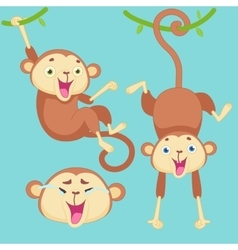 Cartoon monkey with emotions vector image