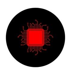 Cpu microprocessor red icon vector