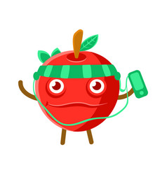 Cute cartoon happy red apple listening to the vector