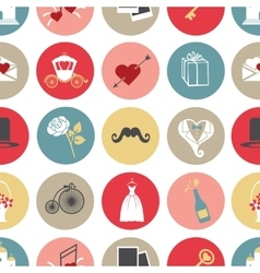 Cute flat wedding icons in modern seamless pattern vector image