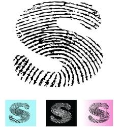 Fingerprint Alphabet Letter S vector image vector image