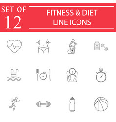 Fitness and diet line icon set healthy life vector