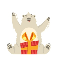 flat style of white bear with gift vector image