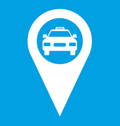 Geo taxi icon white vector