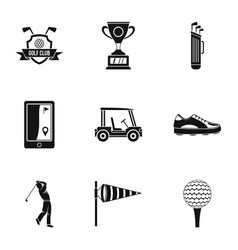 Golf things icons set simple style vector