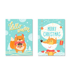 hello winter poster collection vector image