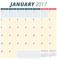 January 2017 calendar planner for 2017 year week vector