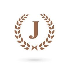 Letter j laurel wreath logo icon vector