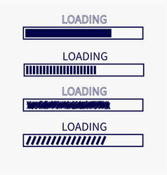 Loading progress status bar icon set web design vector