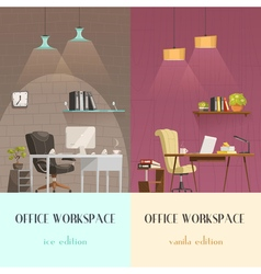 Office interior lighting 2 cartoon banners vector