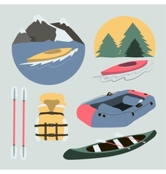 Rafting and kayaking icons collection vector image vector image