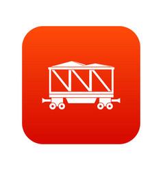 Railway wagon icon digital red vector