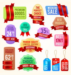 sale and discount price tags ribbon banners with vector image vector image