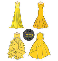 Set of four yellow evening dresses on a white vector
