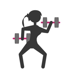 Silhouette girl dumbbell lifting fitness vector