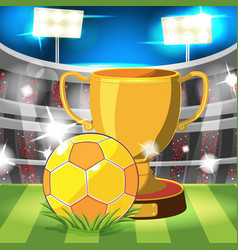 Soccer stadium gold ball award vector