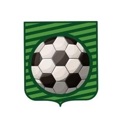 Soccer tournament emblem with ball vector