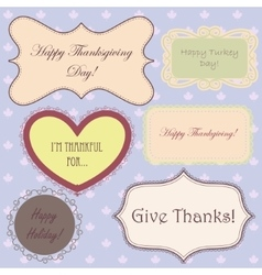 Vintage set of thanksgiving banners and simple vector image