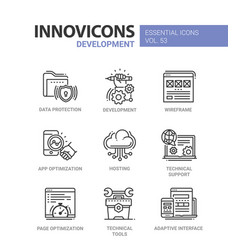 Web page development - modern line icons vector