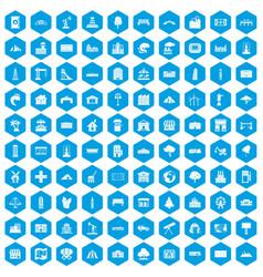 100 landscape element icons set blue vector