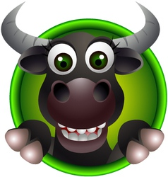 Cute buffalo head cartoon vector