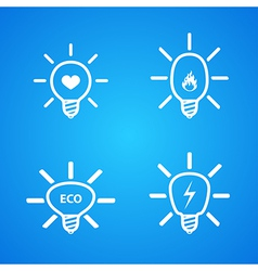 Icon set of light bulbs vector