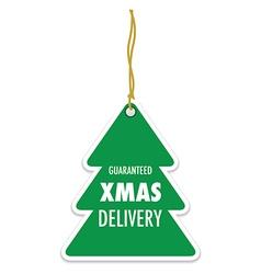 Christmas tree green badge vector