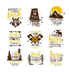 Alaska National Park Promo Signs Series Of vector image