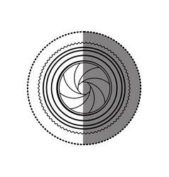 Sticker monochrome contour of analog camera lens vector