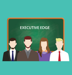 Executive edge white text with four vector
