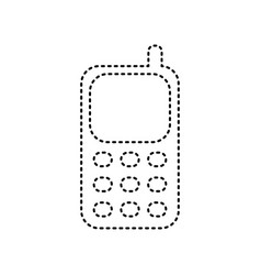 cell phone sign black dashed icon on vector image