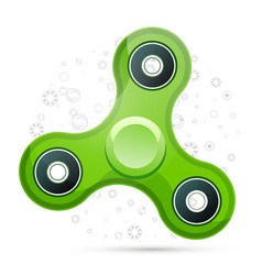 Realistic green fidget spinner with highlights vector