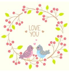 wreath and birds vector image