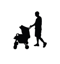 Father with baby carriage silhouette vector