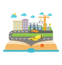 Open book with city vector