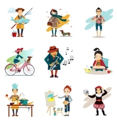 Active lifestyle hobbies healthy lifestyle icons vector