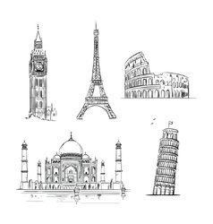 Hand drawn world landmark set vector
