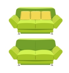 Green sofa couch design front view vector