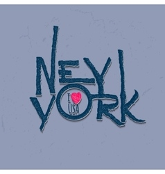 Vintage hand lettered textured new york city t vector