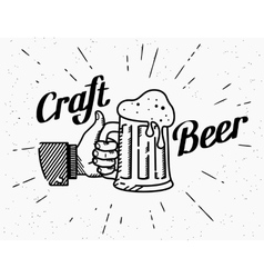 Thumbs up symbol icon with craft beer mug vector