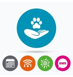 Shelter pets sign icon hand holds paw symbol vector