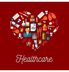 Healthcare flat symbols in a shape of heart vector