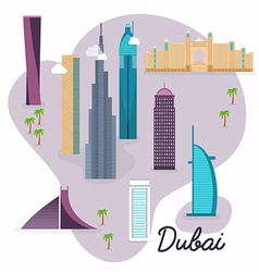 Dubai travel map and landscape of buildings and vector