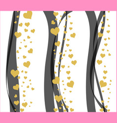 abstract background with black curve line and gold vector image vector image
